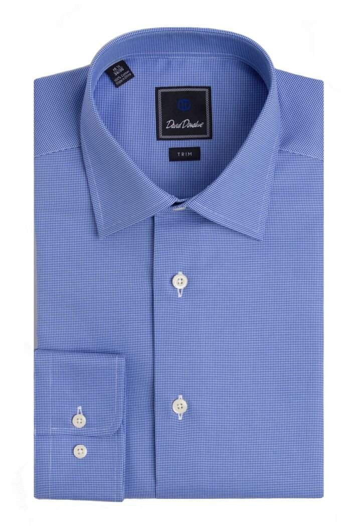 David Donahue Men's Micro Birdseye Barrel Cuff Trim Fit Dress Shirt - Blue: Size 16, 36/37 by David Donahue