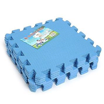 Kicode 9 PCS Puzzle Colchoneta de ejercicio de juegos para niños Con la alta calidad de la espuma de EVA que entrelaza Azulejos (Azul)