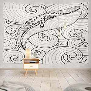 KJONG Coloring Ethnic Ornamental Book Shark Nature Sea Whale Family Ocean Sketch Abstract Animal Aquatic Art Decorative Tapestry,60X80 Inches Wall Hanging Tapestry for Bedroom Living Room