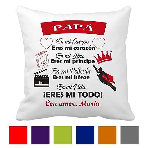 Regalo Original Papá/Cojín Personalizado/Día del Padre/Tamaño 40x40 cm/Hombre/Chico/Novio/Marido/Cumpleaños