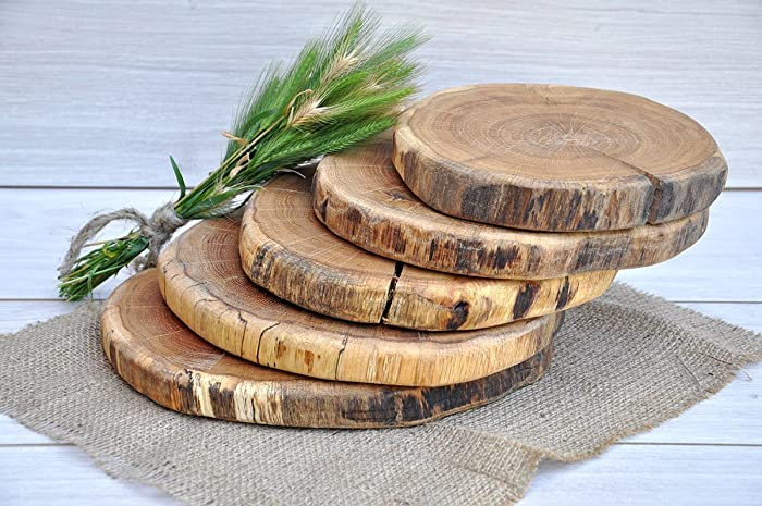 amazon com set of five 8 11 oak wood slices for centerpieces