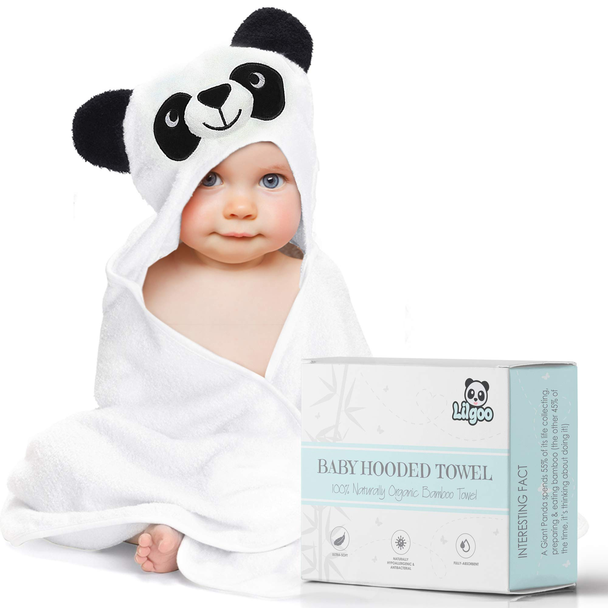 Premium Organic Bamboo Hooded Baby Towel - Large, Soft Panda Bath Robe for Boy or Girl - Perfect Shower Gift - Sized for Babies, Newborns, Infants, Toddlers & Kids - Super Absorbent and Hypoallergenic