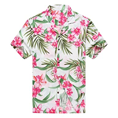 8f7bea64 Made in Hawaii Men's Hawaiian Shirt Aloha Shirt L Pink Floral with Green  Leaf in White
