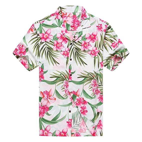 f4784f4a Made in Hawaii Men's Hawaiian Shirt Aloha Shirt S Pink Floral with Green  Leaf in White