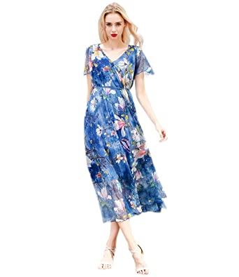 d155f0e75ea Medeshe 2018 V Neck Lightweight Floral Bridesmaid Maxi Dress Beach Wedding  Guest Sundress  Amazon.co.uk  Clothing