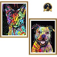 GINFONR 2 Pack 5D Diamond Painting Colorful Dogs& Cats Full Drill by Number Kits for Adults Kids, Craft Rhinestone Paint with Diamonds Set Pet Arts Decorations (12x16inch)