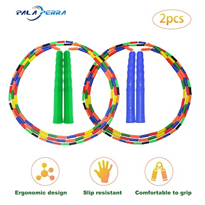 PALA PERRA Jump Rope Kids, Adjustable Jumping Rope for Kids & Adults, Tangle-Free Soft Beaded Segmented Jump Rope for Exercise, Keeping Fit, Training, Workout & Weight Loss - 8.5 Feet (Green + Blue): Sports & Outdoors