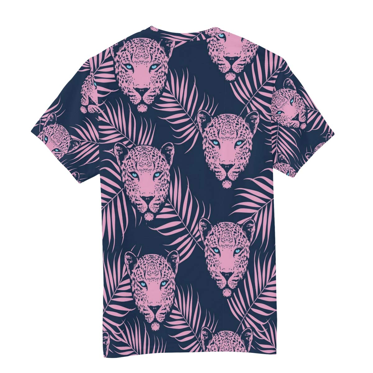 Horatiood Huberyyd Pink Tropical Leopard Print Mens T Shirts Graphic Funny Body Print Short T-Shirt Unisex Pullover Blouse