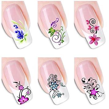 Amazon.com : 6Pcs Different Designs Nail Art Sticker Flower Gripe ...
