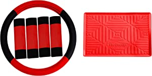 TLH Modernistic Steering Wheel Cover and Seat Belt Pads w/Anti-Slip Dash Mat, Red Color