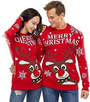 Womens Mens Knitted Christmas Two Rudolph Reindeer Jumper Snow Festive Season