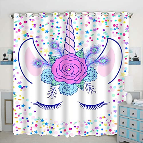 QH Unicorn Stars Window Curtain Panels Blackout Curtain Panels Thermal Insulated Light Blocking 42W x 84L inch Set of 2 Panel