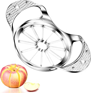 Apple Slicer, McoMce Stainless Steel Apple Cutter with 12-Blad Commercial Apple Slicer and Corer, Extra Large Apple Corer, Heavy Duty Apple Corer Tool for Up to 4 Inches Fruit