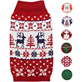 Blueberry Pet 6 Patterns Vintage Holiday Festive Christmas Themed Dog Sweater and 2 Patterns Hair Clips