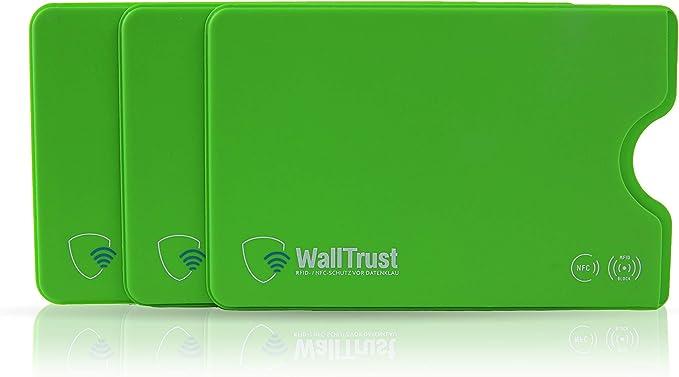 11 opinioni per WallTrust RFID Cover protettiva per carte di credito, plastica, set di 3, Verde