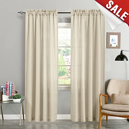 Semi Sheer Curtains for Living Room 84 Inches Long Casual Weave Voile  Curtain Panels for Bedroom Window Treatment Pack of 2 Beige