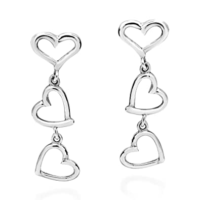 3639ba3ef Image Unavailable. Image not available for. Color: Triple Open Heart  Connected Drop .925 Sterling Silver Stud Earrings