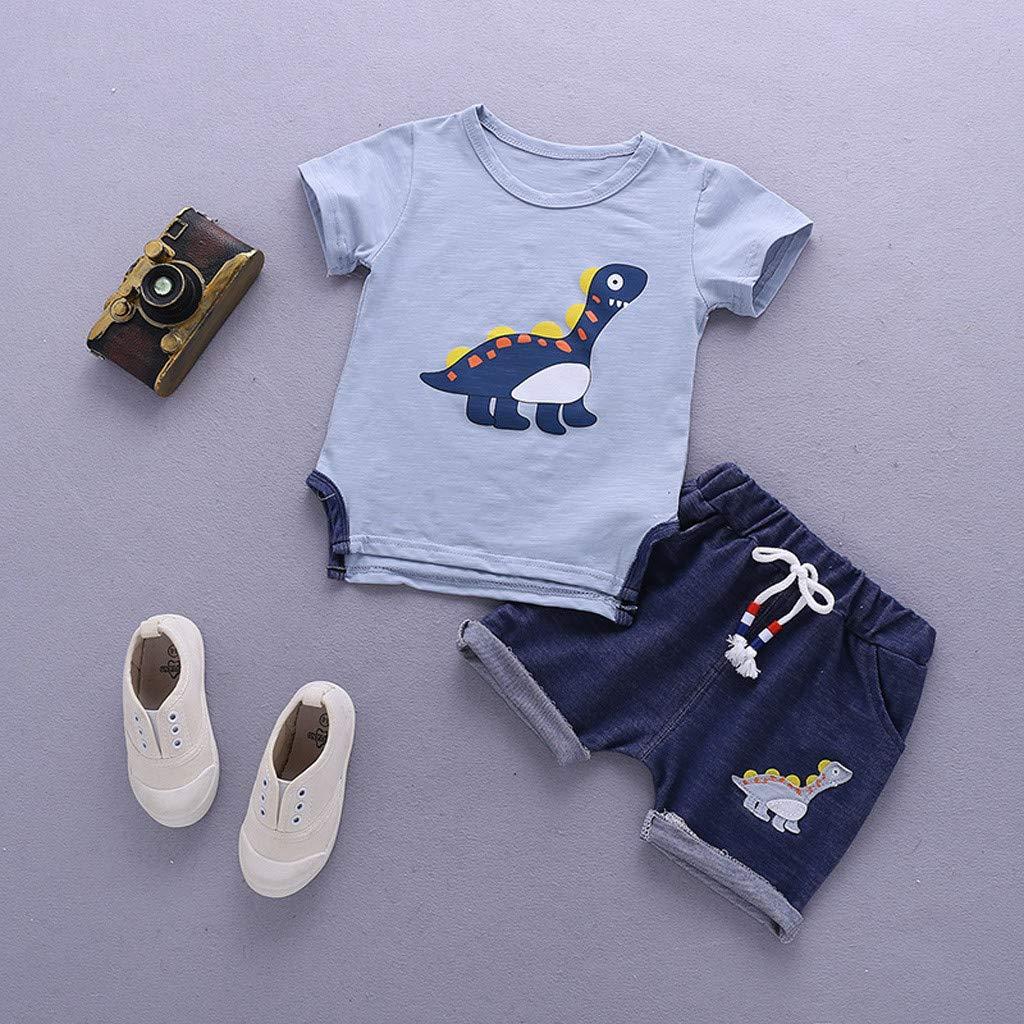 0-3T Little Kids Baby Boys Clothes Set Summer Cartoon Dinosaur Short Sleeve T-Shirt Tops and Shorts 2Pcs Outfits