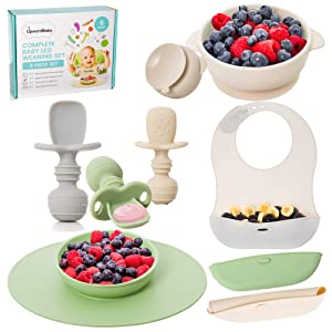 Baby Led Weaning Feeding Supplies for Toddlers - UpwardBaby Baby Feeding Set - Suction Silicone Baby Bowl - Self Eating Utensils Set with Spoons, Bibs, Placemat - Dishwasher-Safe Infant Food Plate Kit