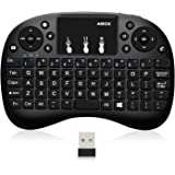 【2018 Newest Version】Globmall Wireless Mini Keyboard 2.4GHz with Touchpad Mouse Multi-media Portable Ergonomic Design for Raspberry Pi ,XBox 360, PS3,PC, iPAD, Android TV Box, HTPC Support 20 Meters Operating Range and Multi-finger Functions