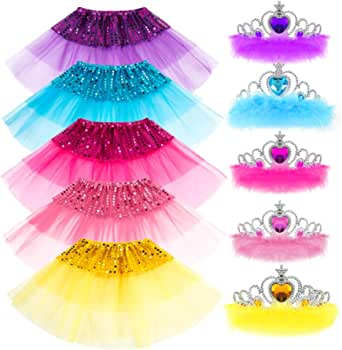 COGGIFEL Princess Dress up Accessories Girl Gift Set Crown Dress Tiara Belle Elsa Party Favors Costume for Girls