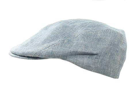 3cdb1f7a292 Biddy Murphy Mens Flat Irish Hat Linen Three Panel Blue Made in Ireland  Small