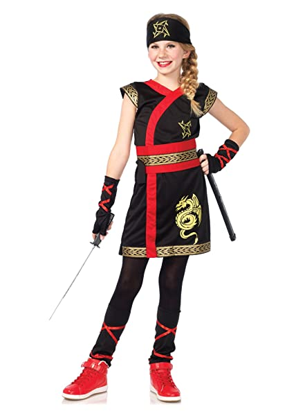 Amazon.com: 5 PC. Girls Ninja Warrior Dress - Large - Black ...