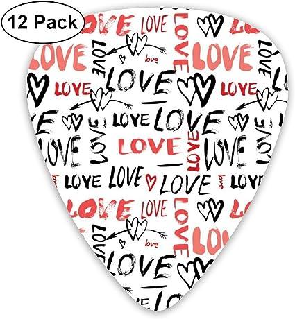 Guitar Picks 12-Pack,Hand Drawn Love Lettering Doodle Style Design ...