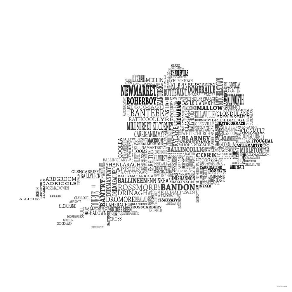 Amazon.com: Typographic Map of County Cork, Ireland 12