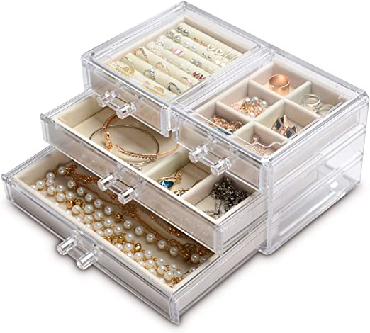 Amazon Com Acrylic Jewelry Box 4 Drawers Clear Jewelry Organizer Velvet Rings Necklaces Earring Bracelets Display Case Stand Holder Tray For Women Girls Beige Home Kitchen