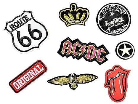 schön in der Farbe großer Lagerverkauf Einzelhandelspreise Beyond Patch Sticker 8 Stück Aufnäher Kleidung Patch AC/DC, Route 66,  Zunge, Original, Stern, und Mehr