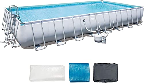 Bestway 56625E 31' x 16' x 52″ Power Steel Frame Outdoor Above Ground Rectangular Swimming Pool Set