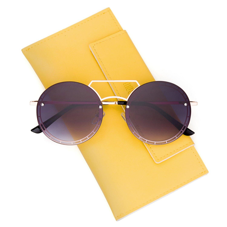 Mosanana Circle Hippie Sunglasses for Women Grey Gradient Lens Tinted John Lennon Hipster Cute Circular Round Retro Vintage Metal Old School 90s Trendy Fashion Stylish Chic Style Designer 2018