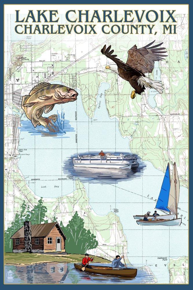 湖Charlevoix、ミシガン州 – Nautical Chart 12 x 18 Metal Sign LANT-42924-12x18M B06Y1FN6QK 12 x 18 Metal Sign12 x 18 Metal Sign