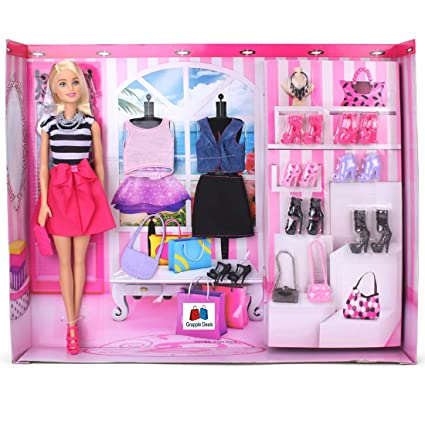 12a29789a0486 Buy GRAPPLE DEALS Fashion Doll With Trendy And Stylish Western Wear Dresses  And Awesome Shoes Pair And Accessories For Girls Kids.