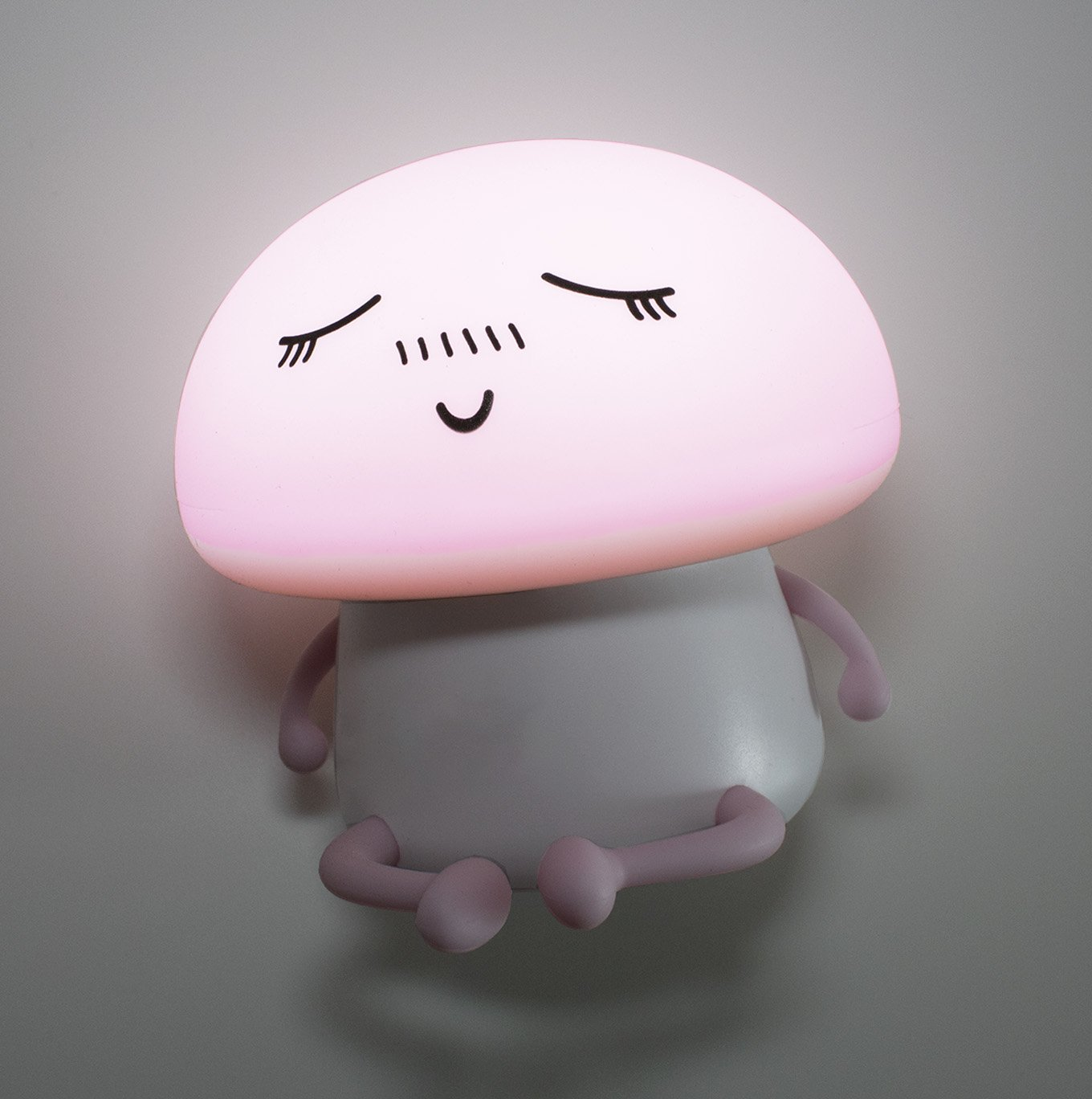 LuxLumi Silicone Emoji Mushroom Buddy LED Touch Nightlight is Dimmable, Portable, Rechargeable or Battery Powered for Toddlers, Children, Kids, Teens, or Nursery (Meditating Pink (Rechargeable))