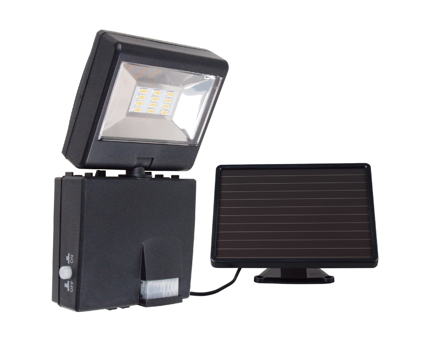 Link2Home 480 lm Led Solar Security Adjustable Single Head Sensor Floodlight with Photocell Technology in Black by Link2Home