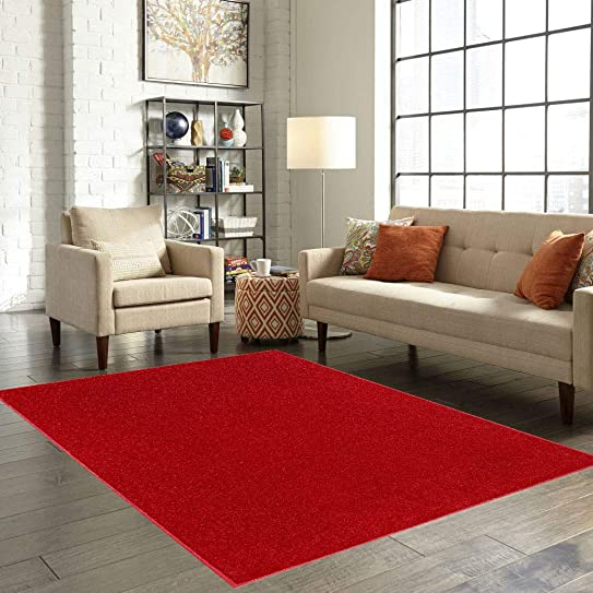 American Bright Solid Color Red Area Rug – 4 x6 Oval