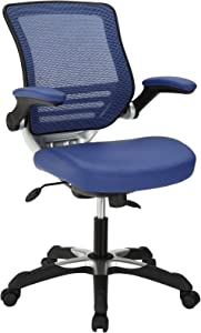 Modway Edge Mesh Back and White Vegan Leather Seat Office Chair With Flip-Up Arms-Computer Desks in Blue