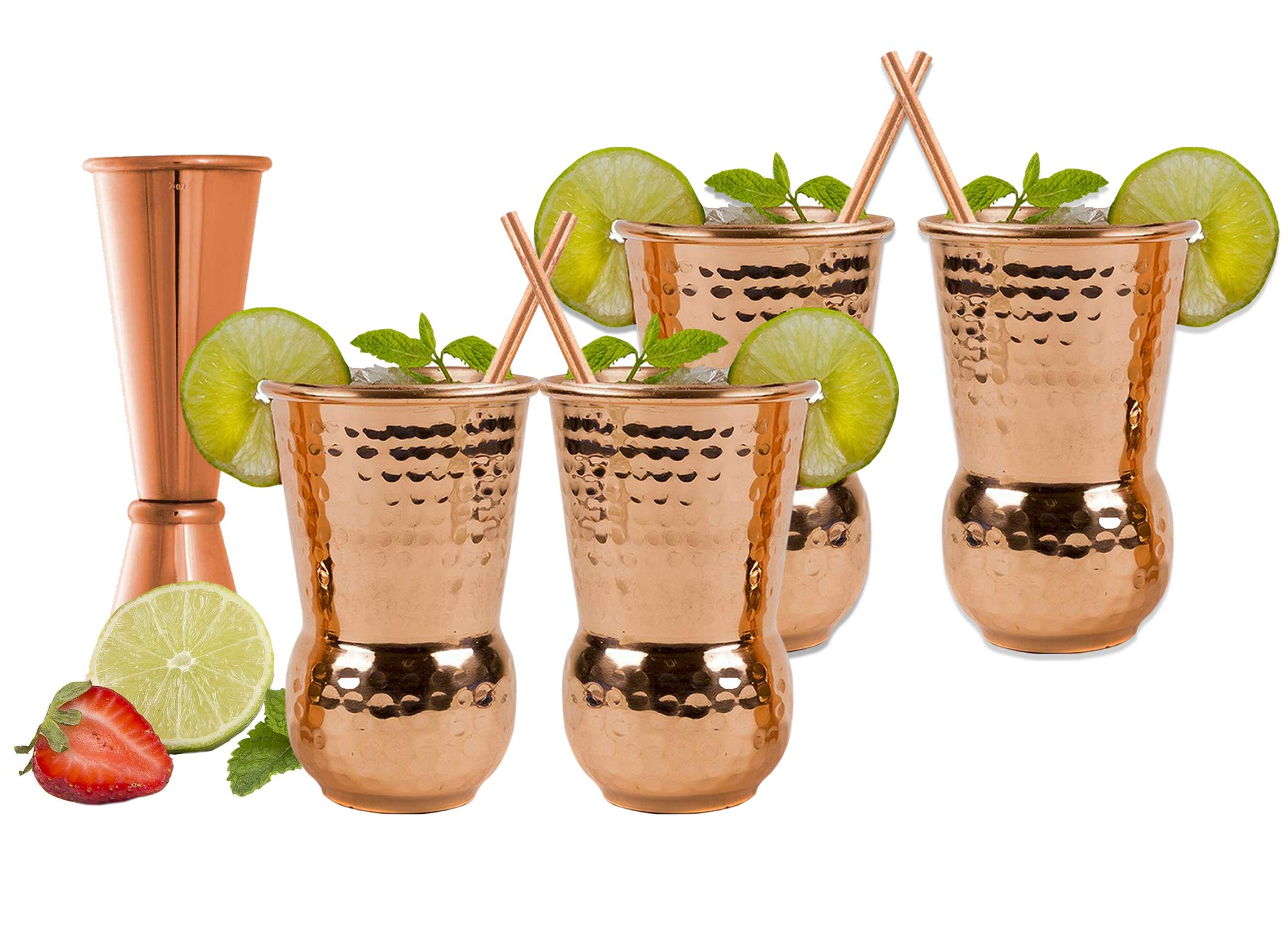 EXTRA THICK HEFTY 20 Gauge Moscow Mule Copper Mugs by Eximius Power | 100% Pure Food Safe Copper Drinking Cups |16 oz Hammered Design Handcrafted Tumblers | | Bonus Jigger and 4 Straws (4) by Eximius Power