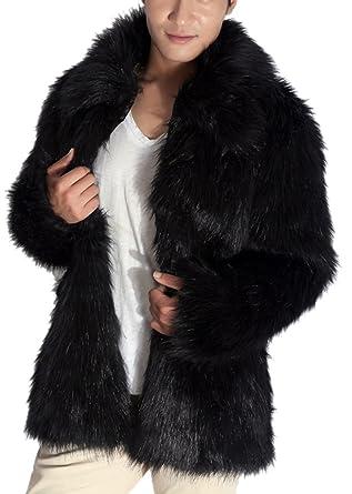 Mens Fashion Shaggy Faux Fur Short Coat Oversized Collar Fake Mink