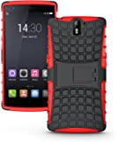 JKase DIABLO Tough Rugged Dual Layer Protection Case Cover with Build in Stand for OnePlus One - Retail Packaging (Red)