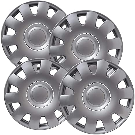 Hubcaps 15 inch Wheel Covers - (Set of 4) Hub Caps for 15in Wheels Rim Cover - Car Accessories Silver Hubcap Best for 15inch Cars Standard Steel Rims - Snap ...