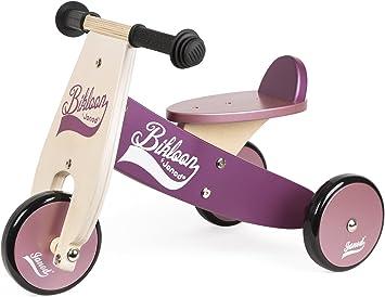 Janod - Bicicleta sin pedales Bikloon, madera, color violeta ...