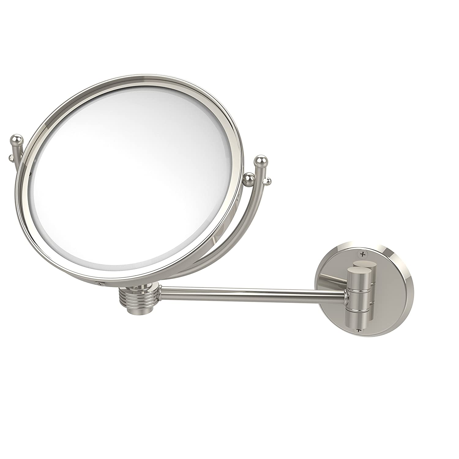 Allied Brass WM-5G//2X-PB 8 Inch Wall Mounted Make-Up Mirror 2X Magnification Polished Brass