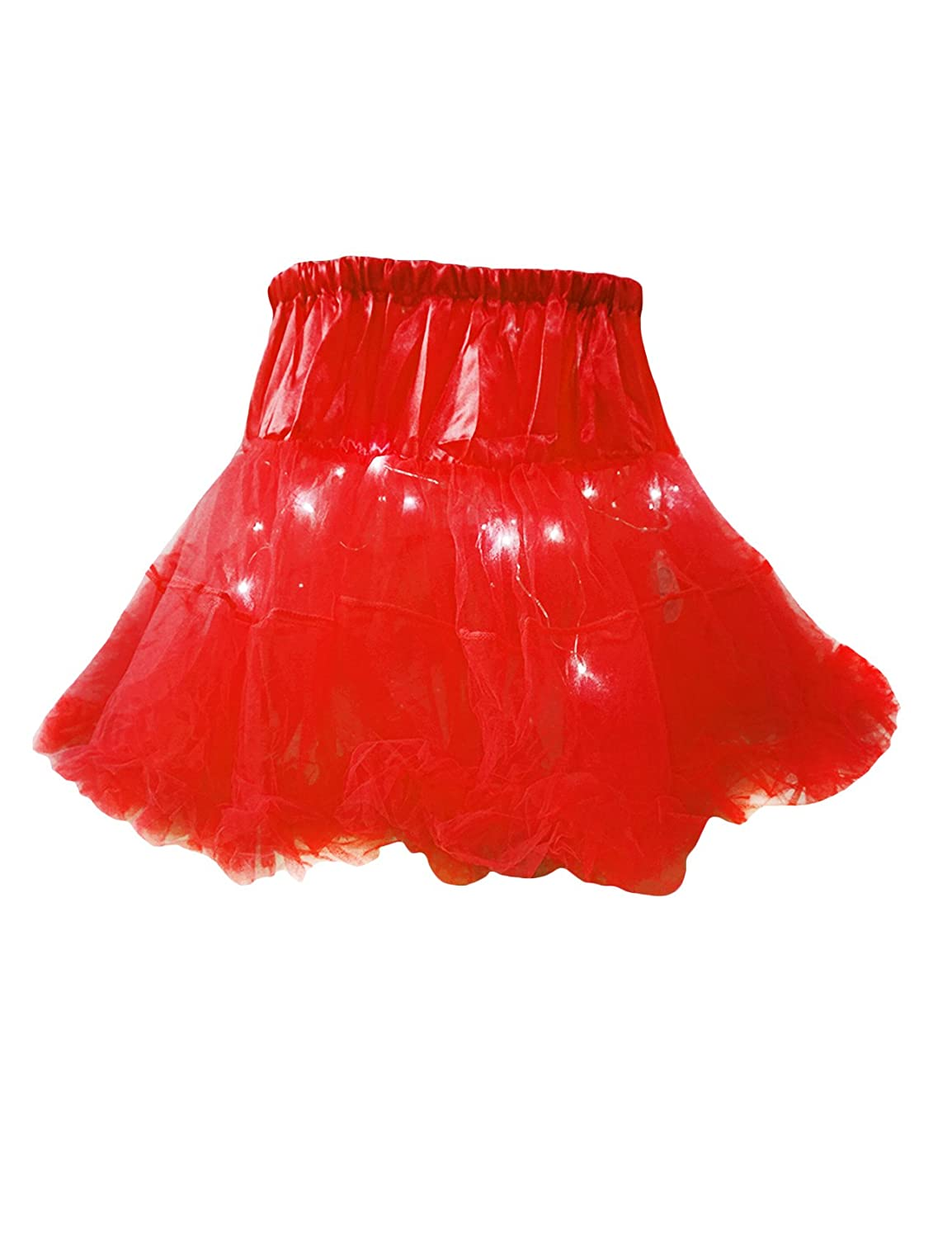 Bestgift Women's Solid Color LED Light Up Layered Party Tulle Tutu Skirt BSGFQQ0194-5