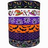 "1"" 30 yards (6 Mixed Lot) Halloween Ribbons Bats Spiders Pattern Printed Grosgrain Ribbon for Hair Bow Halloween Decorative Ribbons (1)"