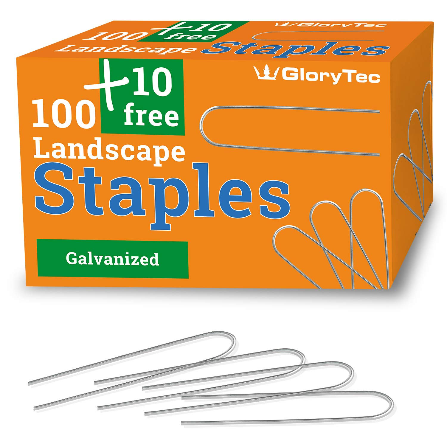 Glorytec 110 Garden Stakes Landscape Staples – Fabric Pins for Landscaping, Gardening, Sod Weed Barrier – Ground Turf Nails, Anchor 6 INCH Galvanized Sturdy Rust Resistant Gardening Supplies