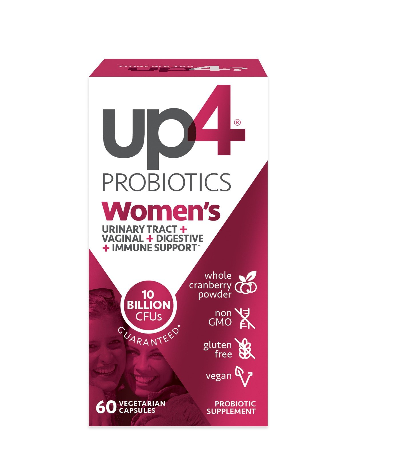 up4 Women's Advanced Care Probiotic Supplement | Vaginal Health + Digestive + Immune Support* | 25 Billion CFUs Guaranteed | Non-GMO, Gluten Free, Vegan | 60 Vegetarian Capsules by UP4