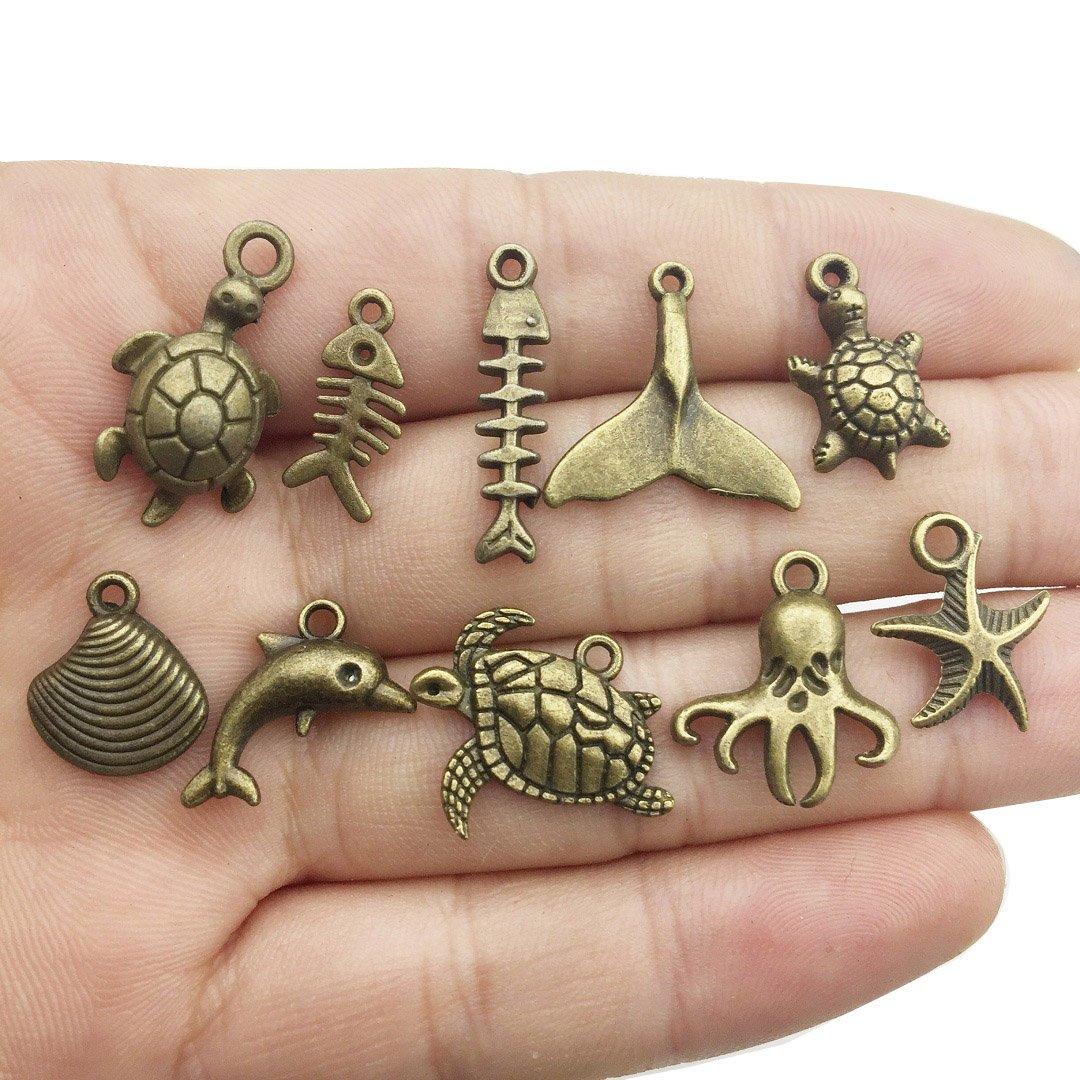 Bronze HM69 55 PCS Marine Life Charms Collection Mixed Starfish Seashells Conch Sea Horse Octopus Mermaid Dolphin Charms Pendants